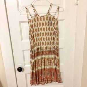 Boho Paisley Sun Dress with Open Back